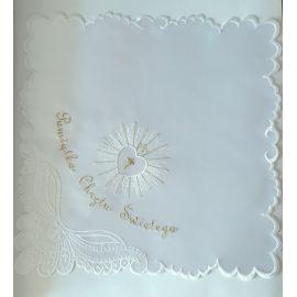 Szatka do chrztu biała- Serce - kwadrat