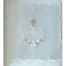 Szatka do chrztu biała- krzyż - kwadrat