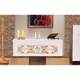 Obrus ołtarzowy - haftowany symbol Baranek Alleluja