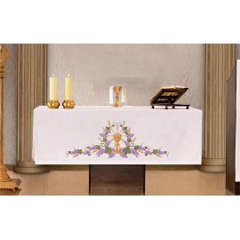 Obrus ołtarzowy - haftowany symbol Kielich, IHS, Winogrona