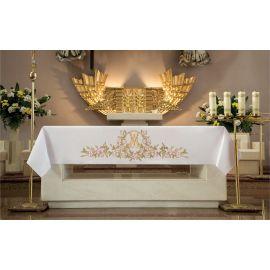Obrus ołtarzowy - haftowany symbol Maryjny + Kwiaty