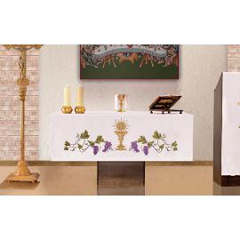 Obrus ołtarzowy - haftowany symbol kielich, IHS, winogrono