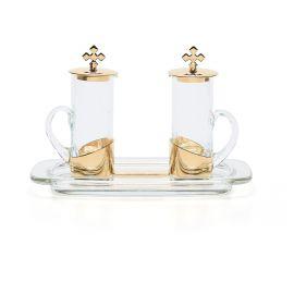 Ampułki mszalne szklane + tacka (3)