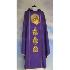 Ornat fioletowy haftowany Jezus w koronie cierniowej