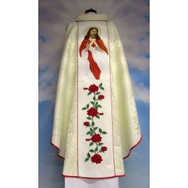 Ornat haftowany Serce Pana Jezusa - materiał rozeta