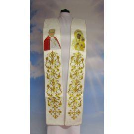 Stuła haftowana Jan Paweł II i Matka Boża Częstochowska